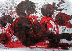 """Tempestad, de la serie """"Círculos Concéntricos""""., Esmalte sobre papel. Domingo Guzmán, 2011. Homenaje al escritor sancristobalense Orlando Alcántara."""