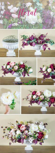 DIY Silk Flower Centerpiece.  Make this lush faux floral centerpiece with flowers from Afloral.com. Designed by Emmy-Ray Design Studio.