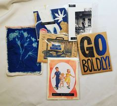 Five packs of handmade cards come in a cyanotype gift bag for $30. Most can be used for multiple occasions since they are all blank inside. At the art party on the 10th in my online shop soon or message me.  #art #tenaciousgoods #cyanotype #collage #sacramentoartists #goboldly #dickandjane #greetingcards #cards #gifts #buylocal #buyhandmade #handmadeholiday