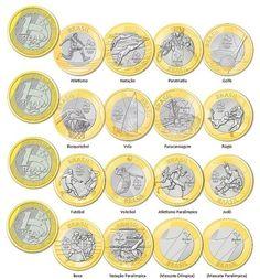 Novas moedas de Um Real comemorativas da Olimpíadas no Brasil: