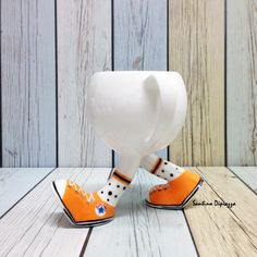 Running Tea Cup, Walking Pottery, Whimsical Sneakers, Mug, Designer Porcelain, Customise Your Own, Unique Gift, Funny Quirky Ware, White Cup by WalkingPottery on Etsy