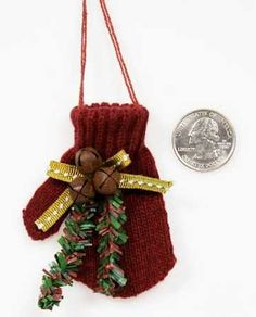 Amazon.com - Set of 6 Primitive Knitted Burgundy Mittens for Christmas - Christmas Ornaments