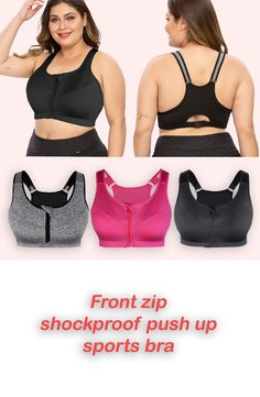 Front zip shockproof push up gym fitness athletic running yoga sports bra is availableat Sports wear - Plus Size Online Shop. Sizes are XL, and and 3 colours, Black, Grey and Rose red. Plus Size Sleepwear, Plus Size Intimates, Plus Size Sports Bras, Plus Size Bra, Plus Size Online Shopping, Online Shopping For Women, Miss Me Jeans Cheap, Plus Size Sportswear, Fitness Activities
