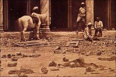 The Sikander Bagh in Lucknow was the venue for a fierce battle during the 1857 Indian Mutiny. 2,000 rebels were killed by the 93rd Highlanders commanded by Gen Sir Colin Campbell. British fury was rife after women and children were slaughtered at Cawnpore.  This picture was taken soon after the mutiny. Mutineer skulls and bones remain in the foreground.