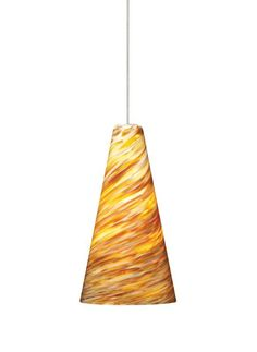 Tech Lighting 700KLTAZA Kable Lite Mini Taza Amber Twisted Blown Glass Pendant - Chrome Indoor Lighting Track Lighting Pendants