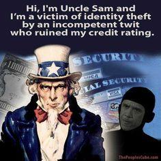 OBAMA CARTOONS: Conservative Political Humor: UNCLE SAM: Victim of Identity Theft