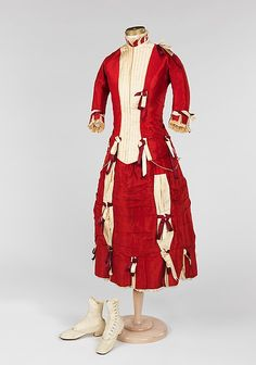 Ensemble, red and white/cream, worn by a 12-year old girl to a wedding.   Date: 1878 Culture: American Medium: silk, leather, glass  The Metropolitan Museum of Art,  Accession Number: 2009.300.1522a–d