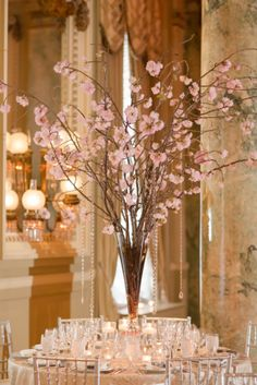 Cherry Blossoms are the perfect centerpiece for a #Willard #DC Wedding!