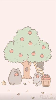 Pusheen the cat iphone wallpaper fall autumn Funny Doodles, Kawaii Doodles, Cute Kawaii Drawings, Pusheen Love, Pusheen Cat, Chat Kawaii, Kawaii Cat, Kawaii Background, Iphone Wallpaper Fall