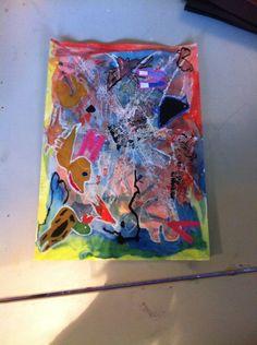 Lag på lag kunst, 4. Klasse. Henriette. Stearin, aquarel, akrylmaling, vokskridt