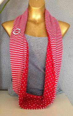 Cincinnati Reds Infinity Scarf by PrivyKitty on Etsy, $20.00. this is adorable!!