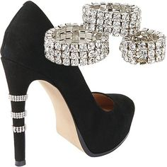 Shoe Bling by Steve Madden.  These slide right over your heels!
