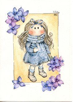 открытка по мотивам работ Анны Кочетковой акварель куклы