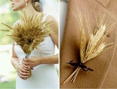 Dry grasses are cute to add to a bouquet for a country wedding!.
