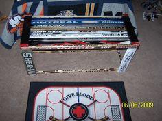 Hockey stick bench~ need to start finding me some broken sticks! Boys Hockey Bedroom, Hockey Room, Boy Room, Kids Room, Hockey Decor, Boys Room Design, Cool Rooms, Nhl, Bench