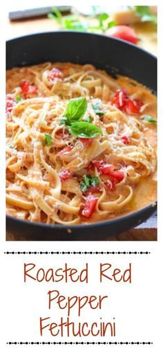 Restaurant Style: Roasted Red Pepper Fettuccine with Creamy Feta Sauce. Comes together quickly and has a restaurant quality taste!