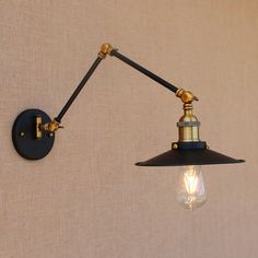 Find More Wall Lamps Information about Vintage iron black adjustable head swing…
