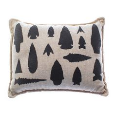Love this pillow! All these different shapes of arrowheads were used for different purposes.