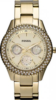 #Fossil #Watch , Fossil Women's ES3101 Stainless Steel Analog Gold Dial Watch