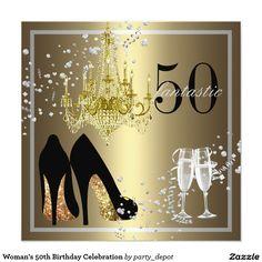 """50.a celebración del cumpleaños de la mujer invitación 5.25"""" x 5.25"""""""