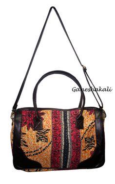 2344e046ce Cotton Kantha Bag Women Indian Vintage Designer Shoulder Handbag   Ganeshakali  BucketBagCrossbodyTote Kantha Stitch