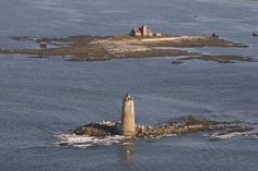 Whaleback Lighthouse and the Wood Island Lifesaving Station in Maine