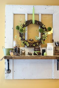 Door shelf! Decorate each holiday. Perfect since I can't put a wreath on my front door.