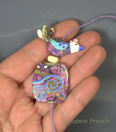 °° THE DREAMING BIRD °° lampwork bead by jasmin french