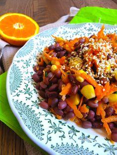 Rosenoisettes, Calme et Gourmandises...: Salade de haricots azukis, maïs, et carotte à l'or...