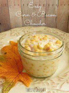 Easy Creamy Corn & Bacon Chowder Recipe _ with onion, garlic, & mediu...