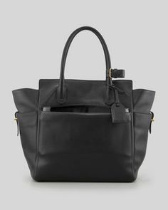 Atlantique+Tote+Bag+with+Patent+Pouch,+Black+by+Reed+Krakoff+at+Neiman+Marcus.