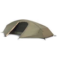 """Stealth Solo tent - Catoma Outdoor. The Stealth tactical tent has clips and sleeves for fast, easy setup in windy or night-time conditions. The tent is light-weight and packs small for easy carry on multiple operations. The large fly stakes out to provide a vestibule over the single door. With a full 8 feet in length the Stealth provides ample living space, weather protection, breathability, durability, and storage. A great addition to any """"bug out"""" or disaster bags."""