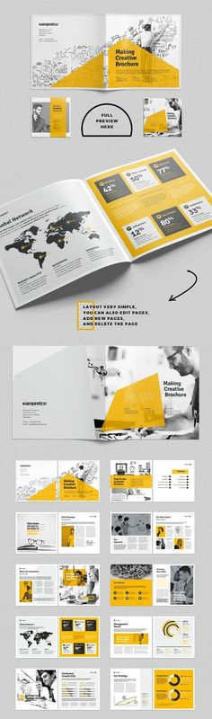 Business infographic : Business infographic : 26 Pages Corporate Square Brochure Design