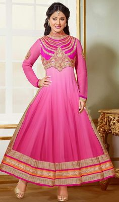 This Pink Faux Georgette Salwar Kameez Is Including The Charming Glamorous Displaying The Sense Of Cute And Graceful. This Beautiful Dress Is Displaying Some Astounding Embroidery Done With Lace, Patch Work, Resham Work. #RosyPinkShingariStyleJewelNeckSuit
