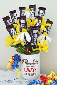 Fun & easy DIY gift idea, and all of the supplies are from a dollar store. How to make a Candy Bouquet on CraftsnCoffee.com.