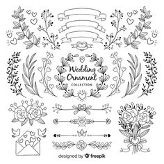 Hand Drawn Wedding Ornament Collection Free Vector Freepik Vector Freeflower Happy New Year Bullet Journal Writing, Bullet Journal School, Bullet Journal Ideas Pages, Bullet Journal Inspiration, Book Journal, Journal Fonts, Hand Lettering Alphabet, Doodle Lettering, Calligraphy Letters