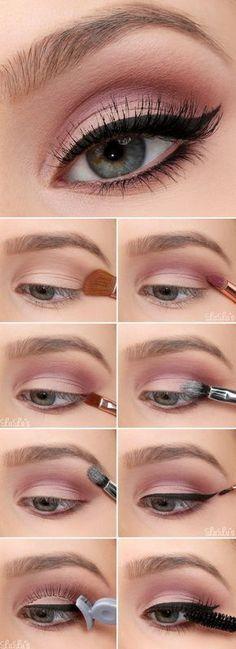 Make-up - Everyday makeup look . - Make-up - Glitter Makeup, Makeup Eyeshadow, Hair Makeup, Makeup Brushes, Pink Makeup, Pink Glitter, Cosmetic Brushes, Eyeshadow Tips, Brown Makeup