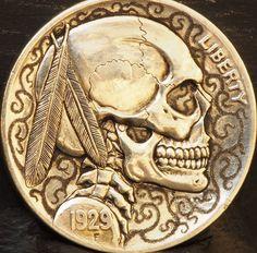 Smudge series #3 ....SOLD.... Hobo Nickel, Series 3, Smudging, Ranger, Buffalo, Roman, Cactus, Carving, Art