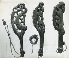 Full: Front Photograph (black and white), from an album; three Maori carved wooden knives, each edged with shark's teeth. Gelatin silver print © The Trustees of the British Museum Abstract Sculpture, Sculpture Art, Metal Sculptures, Bronze Sculpture, Maori Patterns, Polynesian Art, Maori Designs, Nz Art, Native American Regalia