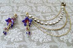 Purple and Blue Lucite Flower Cuff Earrings by SahetahsJewelry, $39.00
