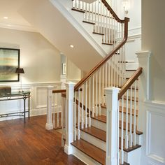 Farmhouse stair railing foyer traditional staircase by arch modern ideas . Traditional Staircase, Modern Traditional, Home Renovation Loan, Staircase Makeover, Staircase Storage, Porche, Home Improvement Loans, Foyer Decorating, Decorating Jobs