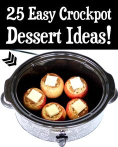 Crockpot Recipes Easy Desserts! Who said dessert needs to be complicated? Your friends and family will LOVE these easy 5 ingredient slow cooker dessert ideas! Go grab the recipes and give some a try this week! Delicious Crockpot Recipes, Crockpot Dessert Recipes, Crock Pot Desserts, Slow Cooker Desserts, Fruit Recipes, Fall Recipes, Cooker Recipes, Delicious Desserts, Easy Summer Desserts