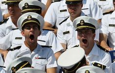 U.S. Naval Academy undergraduates yawn during graduation ceremonies that they are required to attend at the U.S. Naval Academy on May 29, 2012 in Annapolis, Maryland. U.S. Secretary of Defense Leon E. Panetta was the commencement speaker for the 1099 graduates.