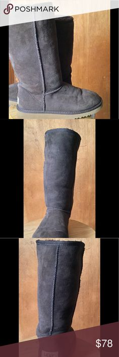 Chocolate brown, tall Ugg boots! Great condition! Chocolate brown suede, tall Ugg boots. Shearling inside. Super comfortable, never out of style. These are a size 7 which perfectly fit a size 8 (Ugg always tells you to go 1 size down so you don't get that flat toe look) UGG Shoes Winter & Rain Boots