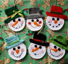 Snowmen Set of 6 Christmas Ornaments Package Tie Gift Crochet Snowman : Snowman Christmas Ornament Package Tie Party Favor Holiday Decor Crochet Christmas Decorations, Snowman Christmas Ornaments, Crochet Christmas Ornaments, Christmas Crochet Patterns, Holiday Crochet, Crochet Gifts, Christmas Snowman, Christmas Crafts, Free Crochet