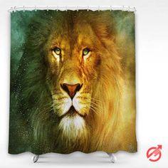 Cheap Lion beautiful face Shower Curtain