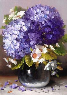 12 beaux tableaux de jorge maciel - Page 2 - Elea Arte Floral, Flower Images, Flower Art, Hydrangea Painting, Creation Photo, Album Design, Pictures To Paint, Beautiful Paintings, Cool Artwork