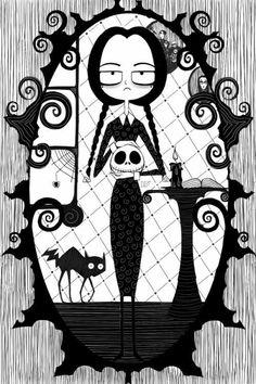 Wednesday Addams/Nightmare Art Illustration By - Halloween Wallpaper Estilo Tim Burton, Tim Burton Style, Art And Illustration, Nightmare Before Christmas, Desenhos Tim Burton, Arte Horror, Horror Art, Gothic Art, Jack Skellington