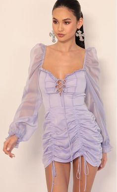 Party dresses > Couture Chiffon Puff Sleeve Dress in Lavender Party Dresses For Women, Day Dresses, Dresses With Sleeves, Look Fashion, Fashion Outfits, Summer Outfits, Casual Outfits, Looks Chic, Colourful Outfits