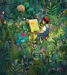 🍀Illustration by *************** Forest Illustration, Children's Book Illustration, Illustrations, Illustration For Children, Pretty Art, Cute Art, Arte Peculiar, Art Plastique, Aesthetic Art